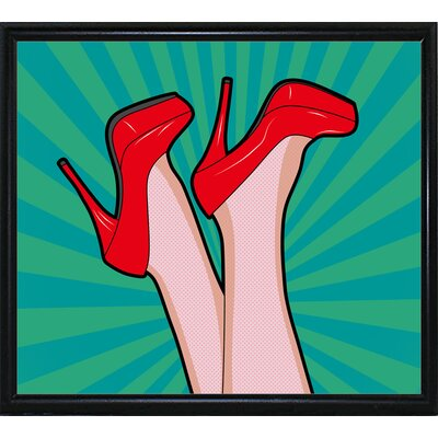 'Woman Legs with a Red Sexy Shoes' Graphic Art Print Format: Flat Black Metal Framed Paper, Size: 23.25