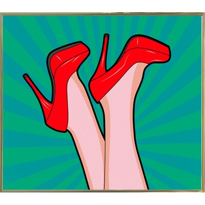'Woman Legs with a Red Sexy Shoes' Graphic Art Print Format: Gold Metal Framed Paper, Size: 23.25