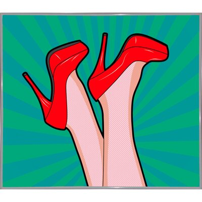 'Woman Legs with a Red Sexy Shoes' Graphic Art Print Format: White Metal Framed Paper, Size: 23.25