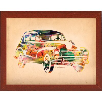 'Folsfagen Car 2' Graphic Art Print Format: Affordable Red Mahogany Medium Framed Paper, Size: 23.25
