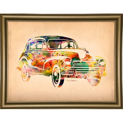 'Folsfagen Car 2' Graphic Art Print Format: Bistro Gold Framed Paper, Size: 23.25