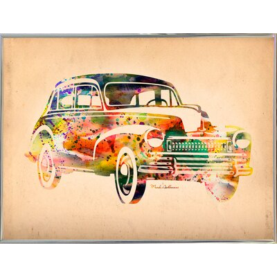 'Folsfagen Car 2' Graphic Art Print Format: Silver Metal Framed Paper, Size: 23.25