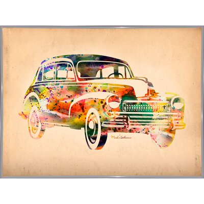 'Folsfagen Car 2' Graphic Art Print Format: White Metal Framed Paper, Size: 23.25