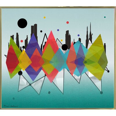 'New York Riflaction' Graphic Art Print Format: Gold Metal Framed Paper, Size: 24
