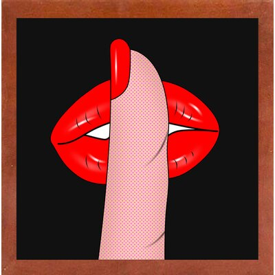 'Shush' Graphic Art Print Format: Affordable Canadian Walnut Medium Framed Paper, Size: 26.5