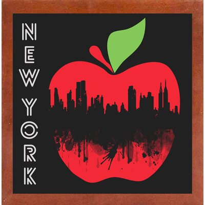 'New York 4' Graphic Art Print Format: Affordable Canadian Walnut Medium Framed Paper, Size: 26.75