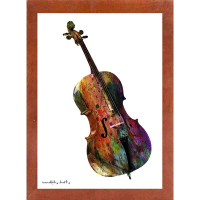 'Cello' Graphic Art Print Format: Affordable Canadian Walnut Medium Framed Paper, Size: 28