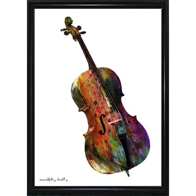 'Cello' Graphic Art Print Format: Flat Black Metal Framed Paper, Size: 28