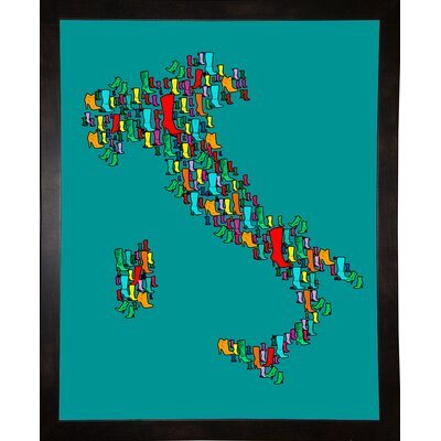 'Italy Map 2' Graphic Art Print Format: Affordable Black Medium Framed Paper, Size: 29.25
