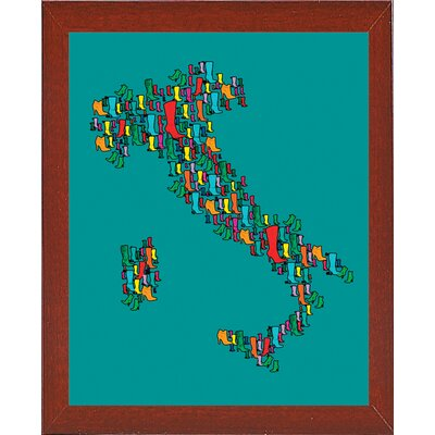 'Italy Map 2' Graphic Art Print Format: Affordable Red Mahogany Medium Framed Paper, Size: 29.25