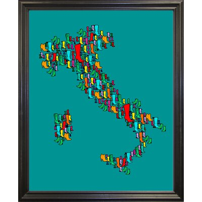 'Italy Map 2' Graphic Art Print Format: Black Grande Framed Paper, Size: 29.25