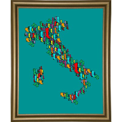 'Italy Map 2' Graphic Art Print Format: Bistro Gold Framed Paper, Size: 29.25