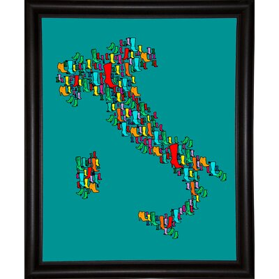 'Italy Map 2' Graphic Art Print Format: Bistro Espresso Framed Paper, Size: 29.25