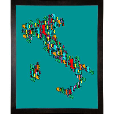 'Italy Map 2' Graphic Art Print Format: Cafe Espresso Framed Paper, Size: 29.25