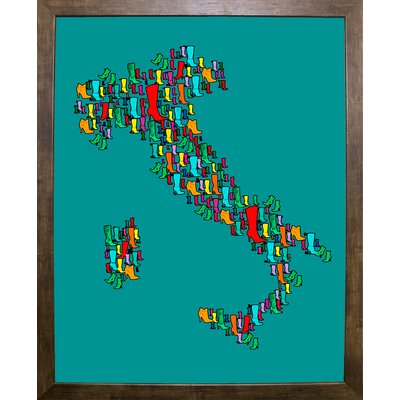 'Italy Map 2' Graphic Art Print Format: Cafe Mocha Framed Paper, Size: 29.25