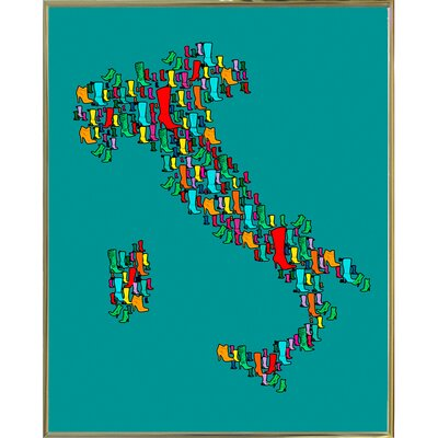 'Italy Map 2' Graphic Art Print Format: Gold Metal Framed Paper, Size: 29.25