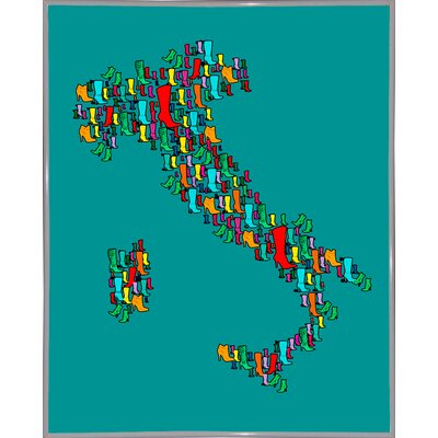 'Italy Map 2' Graphic Art Print Format: White Metal Framed Paper, Size: 29.25