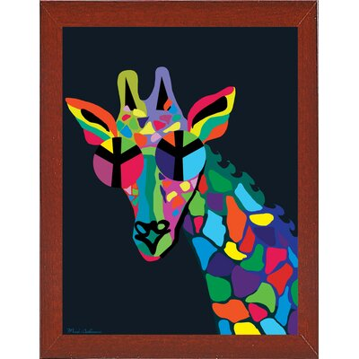 'Giraffe' Graphic Art Print Format: Affordable Red Mahogany Medium Framed Paper, Size: 30.5