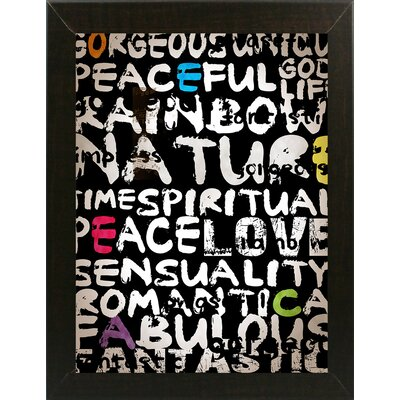'World' Textual Art Format: Affordable Brazilian Walnut Medium Framed Paper, Size: 31
