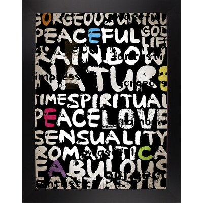 'World' Textual Art Format: Affordable Black Large Framed Paper, Size: 31