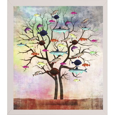 'Tree 2' Graphic Art Print Format: Affordable White Medium Framed Paper, Size: 35