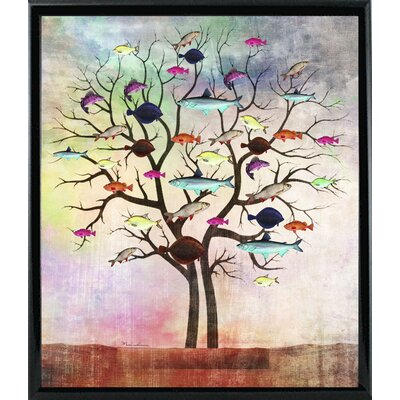'Tree 2' Graphic Art Print Format: Shiny Black Metal Framed Paper, Size: 35