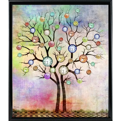 'Tree 3' Graphic Art Print Format: Shiny Black Metal Framed Paper, Size: 35