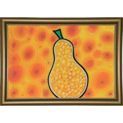 'Pear' Graphic Art Print  Format: Bistro Gold Wood Framed Paper, Size: 11.25