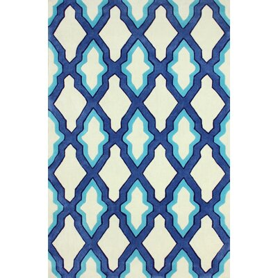 Cine Hand-Tufted Blue/Ivory Area Rug Rug Size: Rectangle 5 x 8