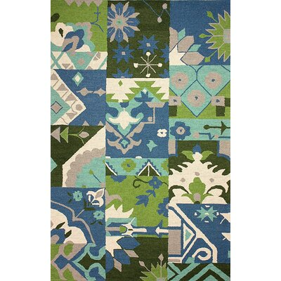 Meadowbrook Hand-Hooked Blue Sultana Area Rug Rug Size: Rectangle 86 x 116