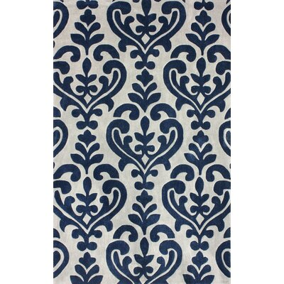 Cine Hand-Tufted Navy/Gray Area Rug Rug Size: 76 x 96