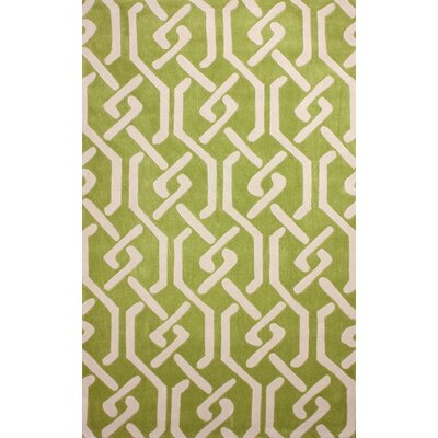 Cine Hand-Tufted Green/Ivory Area Rug Rug Size: Rectangle 5 x 8