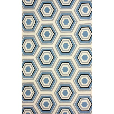 Heritage Hand-Hooked Wool Light Blue Area Rug Rug Size: Rectangle 76 x 96