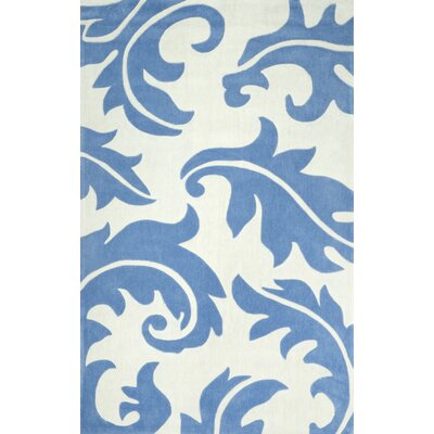 Cine Christie Hand-Tufted Blue/White Area Rug Rug Size: 76 x 96