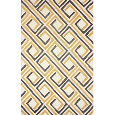 Uzbek Hand-Hooked Yellow/Gray Area Rug Rug Size: Rectangle 76 x 96
