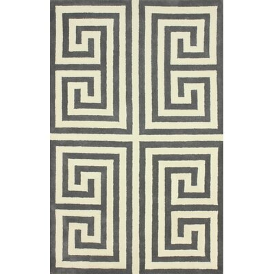 Perrini Hand-Tufted Wool Gray Area Rug Rug Size: Rectangle 86 x 116