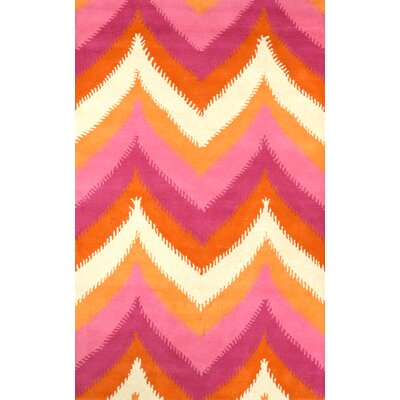 Varanas Hand-Tufted Wool Pink/Yellow Area Rug Rug Size: Rectangle 86 x 116