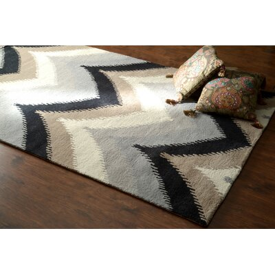 Varanas Hand-Tufted Wool Blue/Black Area Rug Rug Size: Rectangle 86 x 116