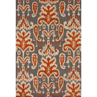 Marbella Verden Ikat Smoke Brown & Tan Area Rug Rug Size: 86 x 116