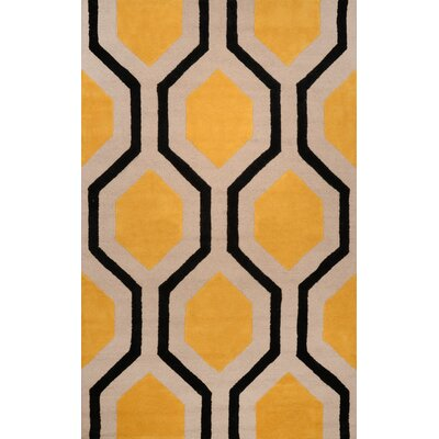 Varanas Hand-Tufted Wool Yellow/Black Area Rug Rug Size: Rectangle 8'6