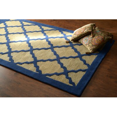 Varanas Hand-Woven Wool Blue/Yellow Area Rug Rug Size: Rectangle 86 x 116