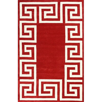 Filigree Hand-Woven Wool Red/White Area Rug Rug Size: Rectangle 86 x 116