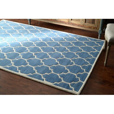 Venice Hand-Tufted Wool Light Blue Area Rug Rug Size: Rectangle 86 x 116