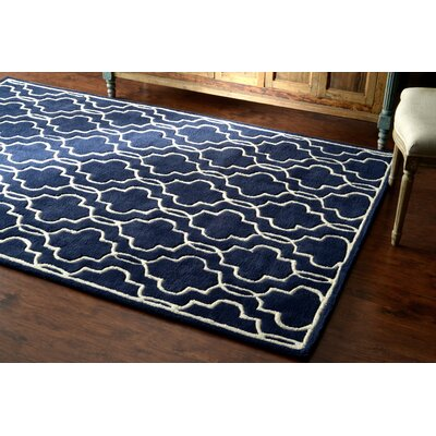 Venice Hand-Tufted Wool Dark Blue Area Rug Rug Size: Rectangle 5 x 8