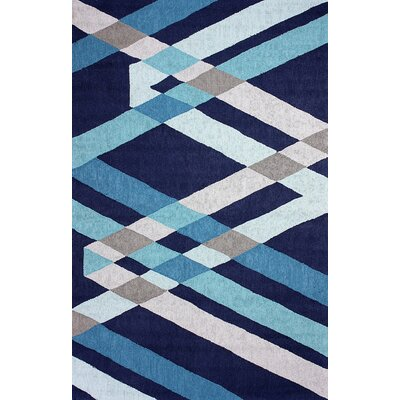 Barcelona Hand-Hooked Blue Area Rug Rug Size: Rectangle 5 x 8