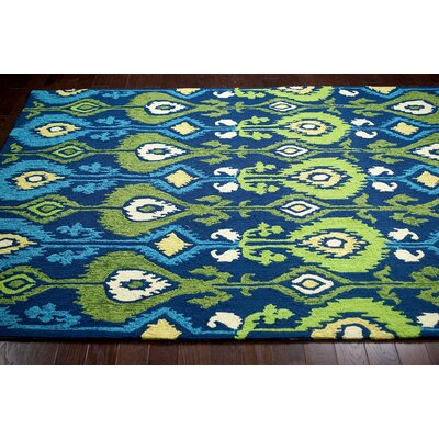 Vera Hand-Hooked Blue Area Rug Rug Size: 5 x 8
