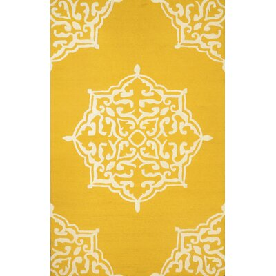 Varanas Hand-Woven Wool Gold Area Rug Rug Size: Rectangle 76 x 96