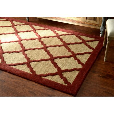 Varanas Hand-Woven Wool Maroon Area Rug Rug Size: Rectangle 76 x 96