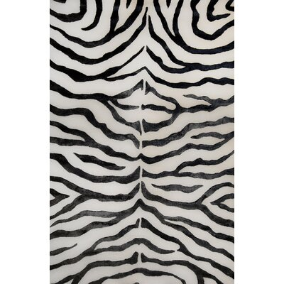 Plush Zebra Hand-Tufted Wool Black Area Rug Rug Size: Rectangle 76 x 96