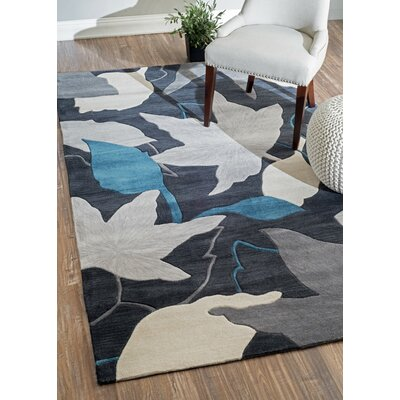 Sherwood Leaves Hand-Tufted Blue Area Rug Rug Size: 86 x 116